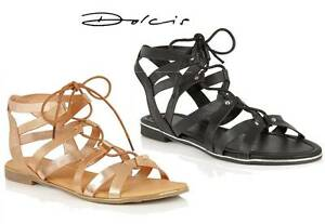DOLCIS-WYOMIE-WOMENS-SANDALS-GLADIATOR-LACE-UP-FLATS-SHOES-BRAND-NEW-CHOOSE