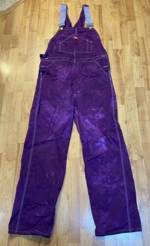 Dickies mens painters Purple bib overalls size 34x