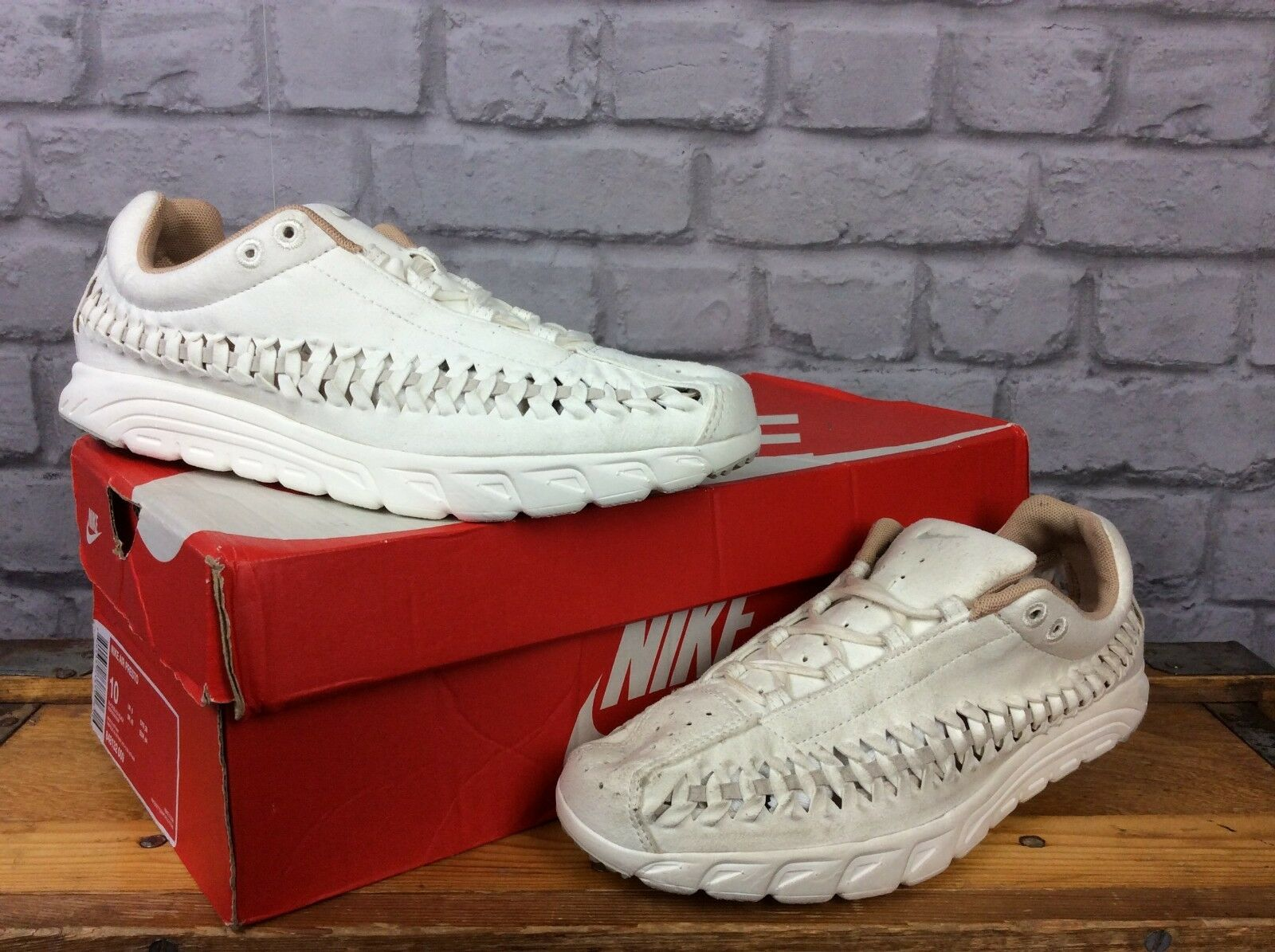 NIKE LADIES6 EU 40 NEUTRAL CREAM MAYFLY WOVEN SUEDE TRAINERS