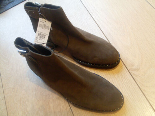 M /& S SEÑORAS tachonado botín con hebilla-Khaki-Talla 8-BNWT £ 69.00