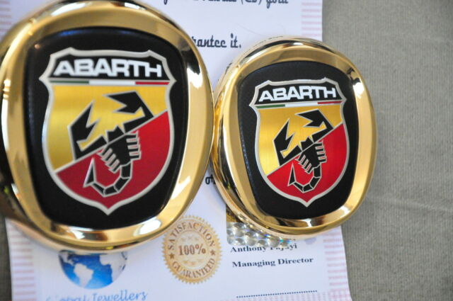 Fiat Abarth Badge Front Grille Rear Boot Car Emblem 24k Gold Plated