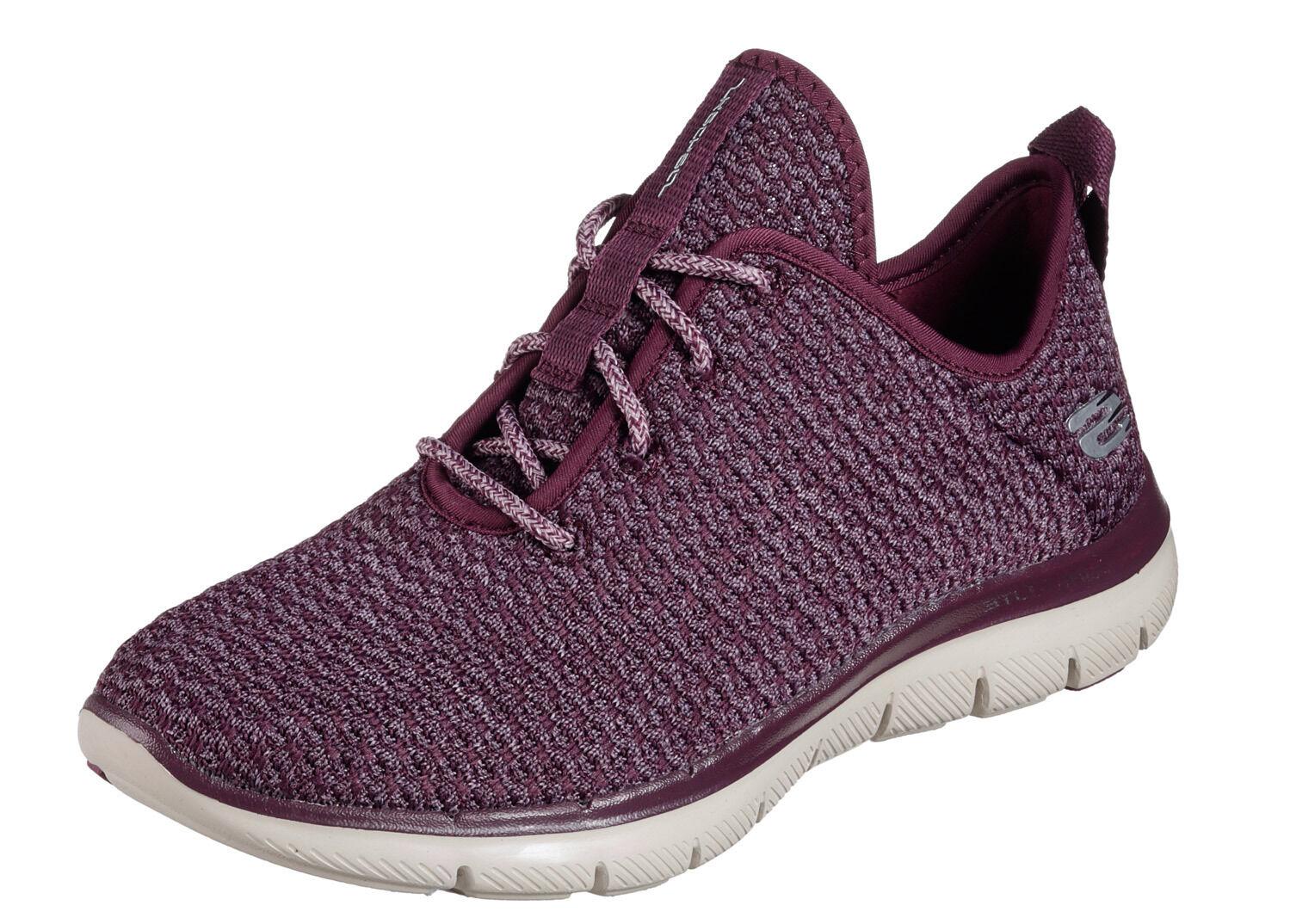 Skechers NEW Flex Bppeal Bold Move plum purple comfort trainers sizes 3-8    £62