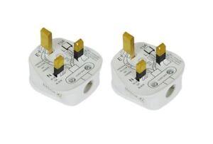 2X Standard UK Fused 13 Amp AC White Mains 3 Pin Household Plug CE ...