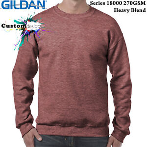 Gildan-Heather-Sport-Dark-Maroon-Heavy-Basic-Sweater-Jumper-Sweatshirt