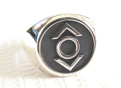 Solid Sterling Silver 925 Indigo Tribe Green Lantern Corp Handmade 3D Ring