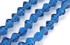 50 Capri Blue Bicone Czech Glass Beads 6MM