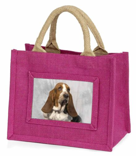 Basset Hound Dog Little Girls Small Pink Shopping Bag Christmas Gift AD-BH6BMP