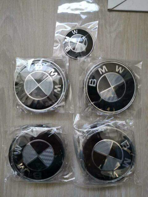 BMW Hood +Trunk +Caps + St. wheel emblem carbon fiber 7 PCs. Free Ship canada US