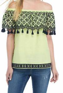 834c3f4b67b Crown & Ivy Embroidered Off-The-Shoulder Tassel Top Lime sz L $65   eBay