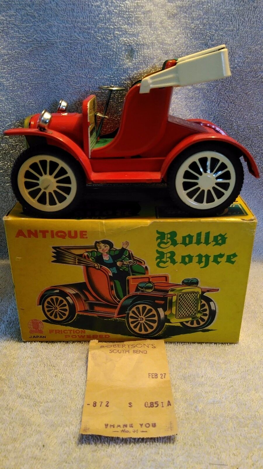 Vintage SSS Int'l Cragstan  Antique Rolls Royce  Tin Friction Driven NIB