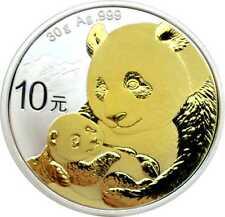 10 Yuan Silver 10 Yuan CHINA PANDA 2019 mit Goldapplikation Gilded Neu