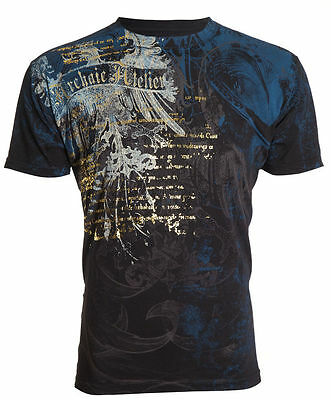 ARCHAIC by AFFLICTION Mens T-Shirt CASCO Eagle Wings BLACK Tattoo Biker UFC $40