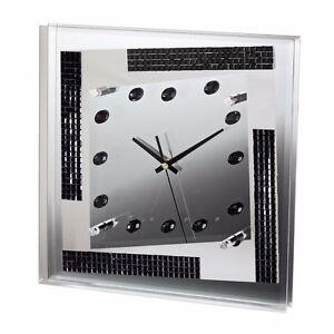 Hama Designer Spiegel Wand Uhr Glitzer Elemente Wanduhr Design