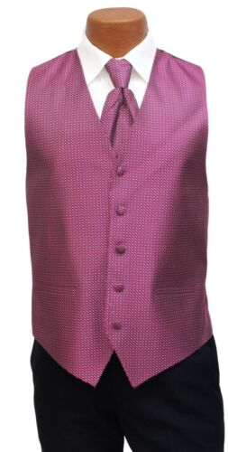 Fucshia Pink Mens Cardi Fullback Formal Tuxedo Vest /& Tie Groomsman Groom Formal