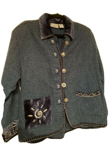 Large Vintage /'90s Keren Hart Cotton Woven Cropped Southwestern Blazer Jacket w Big Chunky Wooden Button
