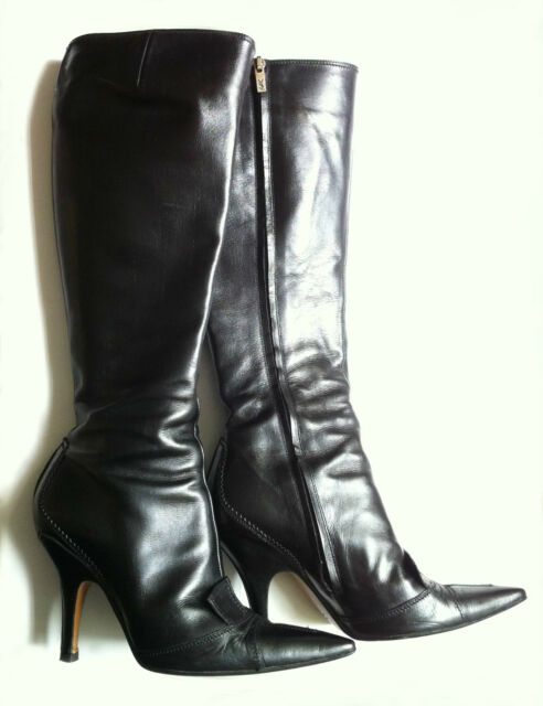 YVES SAINT LAURENT boots size 3 (EU 36) black leather high heel with bow detail