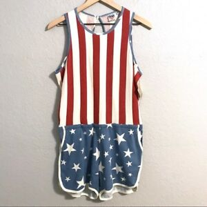 7ca7e3bd6d6d Junk Food Womens Stars   Stripes Romper Red White Blue Patriotic ...