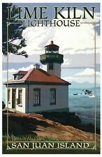 Lime Kiln Lighthouse, San Juan Island, Washington, Whales etc. - Modern Postcard