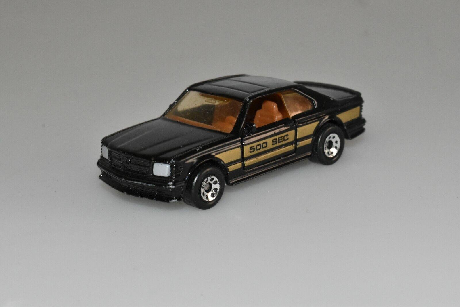 Matchbox Mercedes 500 SEC in black 1984 Macau 1 1 1 64 l4 001ba4