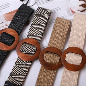 Square Wooden Buckle Elastic Straw Belt Women Braided Wide Woven Waistband MO