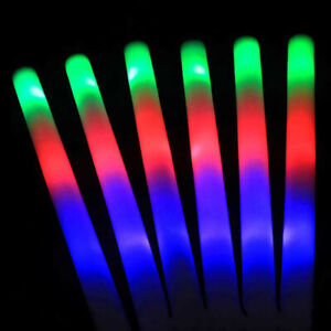 Party-Flashing-Glow-Stick-Light-Up-LED-Multi-Color-Foam-Sticks-Rally-Rave-Baton