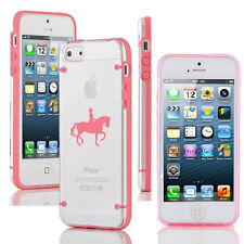 For iPhone SE 5 5s 5c 6 6s 7 Plus Clear TPU Case Cover Dressage Horse with Rider
