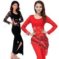Women Belly Dance Costume Practice Training 3pcs Set Blouses Pants Hip Scarf