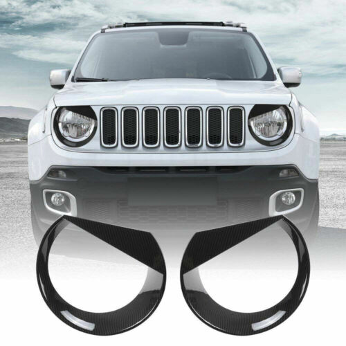 Black Headlight Lamp Cover Bezels Trim ABS Moulding For Jeep Renegade 2015-2018