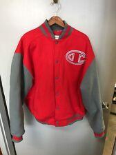 Champion Red Varsity Jacket Snap Front Big C Used Grey Sleeves
