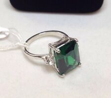 GORGEOUS 6ct Emerald Cut Emerald Ring Sz 7 White Sapphire Sterling Silver NWT