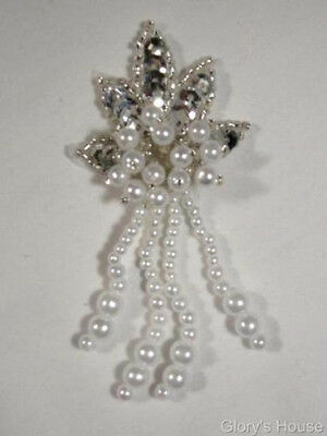 0073 ~ SILVER & PEARL LEAF SEQUIN BEADED APPLIQUE