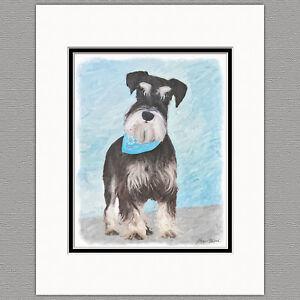 Schnauzer-Miniature-Standard-Dog-Original-Art-Print-8x10-Matted-to-11x14