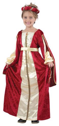Kids Regal Princess Costume Girls Medieval Tudor Book Week Day Fancy Dress New