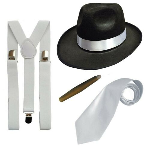 GANGSTER FANCY DRESS SET AL CAPONE TRILBY HAT SUSPENDER BRACES TIE AND CIGAR