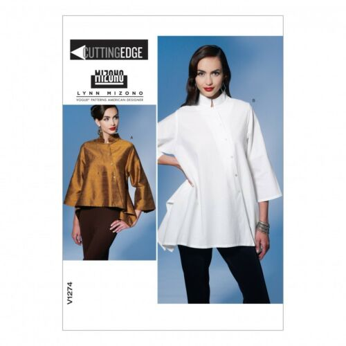 Patrón de costura de moda para señoras fácil 1274 ajuste flojo Tops asimétrica Vogue - 1274-M