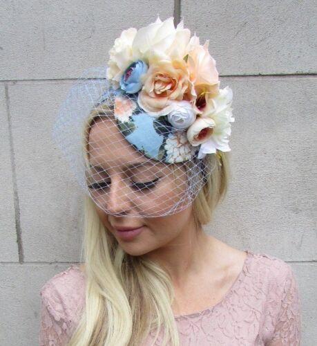 Peach White Ivory Cream Light Blue Rose Birdcage Veil Flower Fascinator Hat 5867
