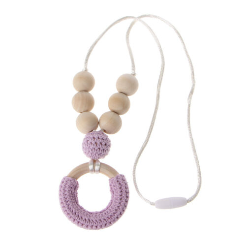Organic Cotton Teething Necklace For Mom Wooden Chewing Necklace Baby Mom Gift