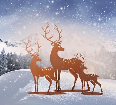 EnéRgico Edelrost Hirsch F Dekoration Garten Weihnachten Advent Terrasse Metall Wald Tier