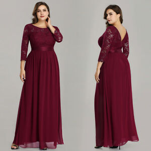 Ever-pretty Plus Size Long Burgundy 3/4 Sleeve Formal Gown Evening ...
