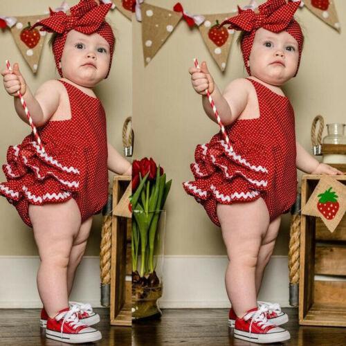 Bandeau Combinaison Tenues Ensembles Toddlers Infant Baby Sans manches Polka Dot Ange