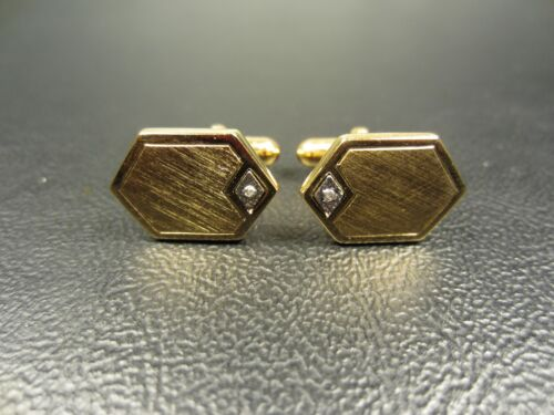 Contemporary Brushed Finish with Faux Diamond Yellow Gold Plated Cuff Links