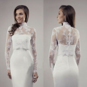 Details About Bridal Bolero Wedding Jackets Lace Wrap High Neck Women Shawl Long Sleeve Shrug