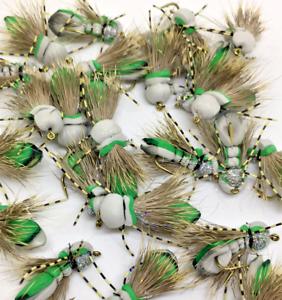 Fly Fishing Flies Grasshopper  Handmade 5 pcs Size #4 #6 #8