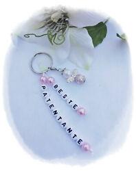 Beste Patentante Schutzengel Schlüssel-Anhänger Perlenengel Glücksbringer