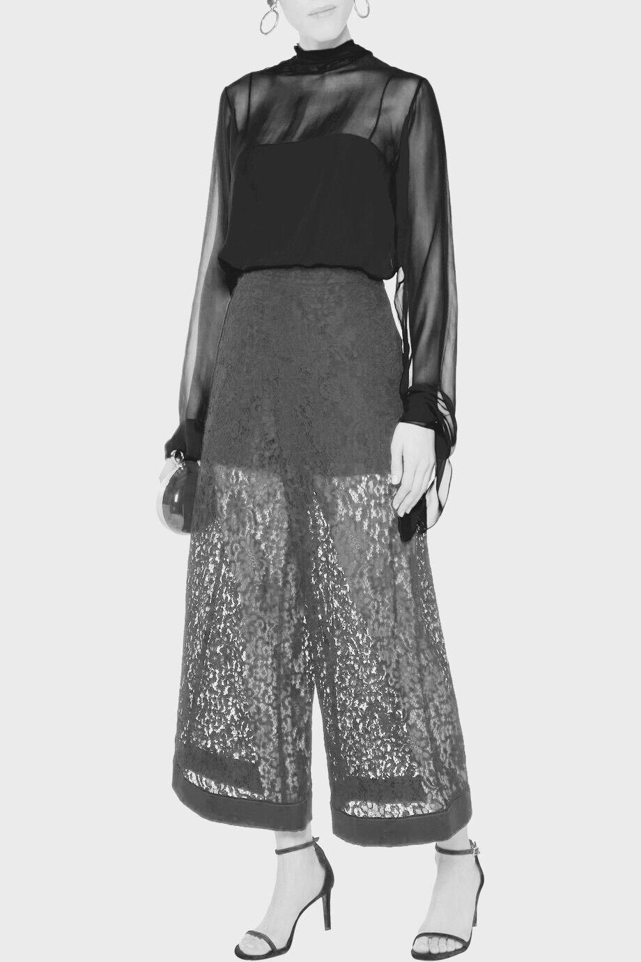 Emilio Pucci PINK Cropped cotton-blend corded lace wide-leg pants 2016 I 40