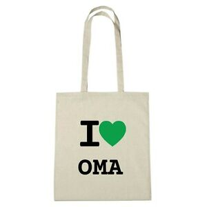 Umwelttasche - I love OMA - Jutebeutel Ökotasche - Farbe: natur