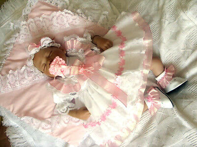 DREAM BABY PINK PRAMS  DRESS & HBD Nb 0-3 3-6 6-12 12-18 MONTHS OR reborn baby
