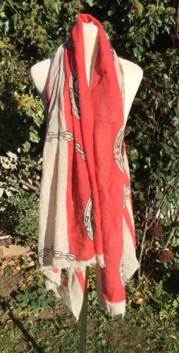 Big Coral And Beige Lightweight Scarf Pashmina