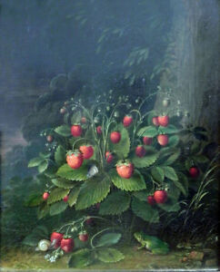 """perfect 24x36 oil painting handpainted on canvas""""Strawberries""""@11169"""