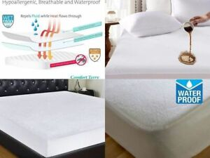 Water-Proof-Mattress-Protector-Incontinence-Fitted-Sheet-Single-Double-King